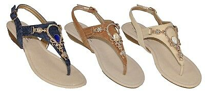 Womens Thong Sandals with Rhinestones and  Heel Strap