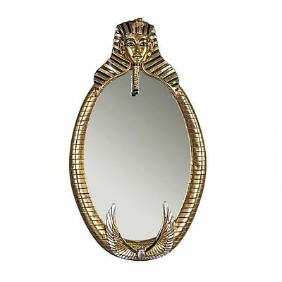 "Egyptian Art Pharaoh Tutankhamen 51"" Oval Wall Mirror In Gold And Silver Leaf"