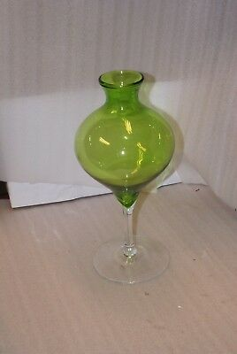 "Vintage Green Glass Footed Vase Mid Century Modern Space Age 16.5"" Tall"