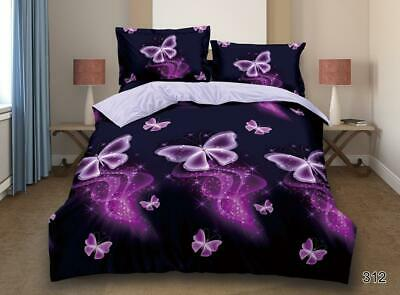 3D Effect Bedding Set Duvet Quilt Cover with Fitted Sheet and Pillowcases 312