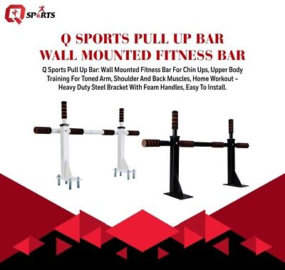 Q Sports Pull/Chin Up Bar Wall Mounted Fitness Bar For Upper Body Training