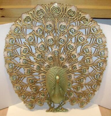 "Vintage Huge Burwood Peacock Wall Decor 34"" X 30"" Mid Century Retro Nice"
