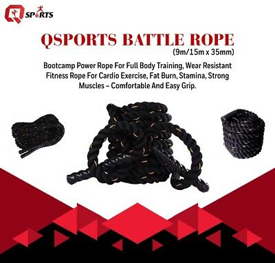 38mm/50mm 15/9m Battle Rope Power Rope Full Body Training Gym Fitness Bootcamp