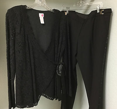 Maternity Special Occasion Dressy Black Outfit Blouse Pants Set Size M EUC!