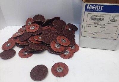 "Box of 100 MERIT ABRASIVES PowerLock QC TY2 2"" Dia. 24ARB Small Sanding Disc Pad"