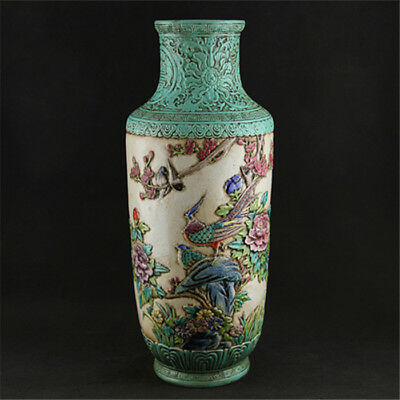 China Antique porcelain hand painted QING QianLong pastel flower bird peony vase