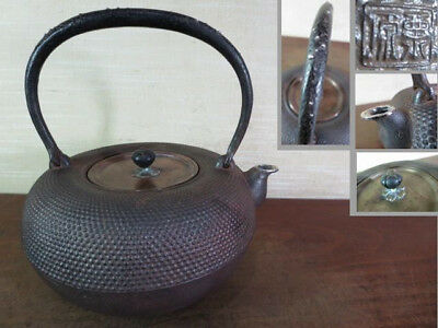 Japanese Antique KANJI old Iron Tea Kettle Tetsubin teapot Chagama 2426