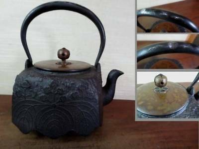 Japanese Antique KANJI old Iron Tea Kettle Tetsubin teapot Chagama 2432