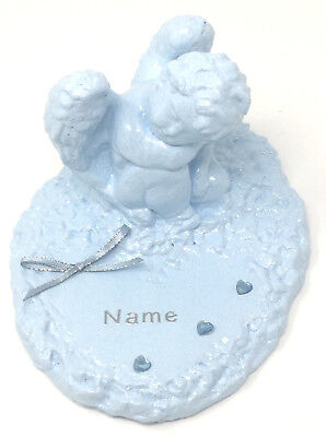 Personalised Baby Blue Angel Cherub Grave Memorial Plaque Graveyard Ornament