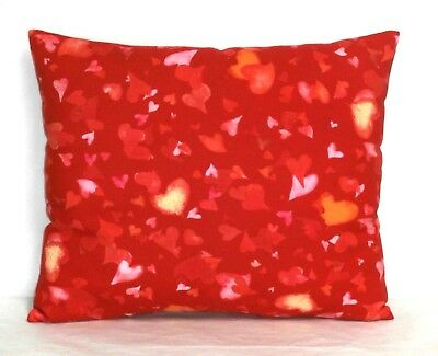 Valentine Toddler Pillow on Hearts Red Cotton 13-6 New Handmade