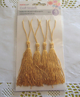 Pack of 4 gold coloured craft TASSELS