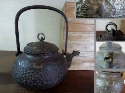 Japanese Antique KANJI old Iron Tea Kettle Tetsubin teapot Chagama 2440