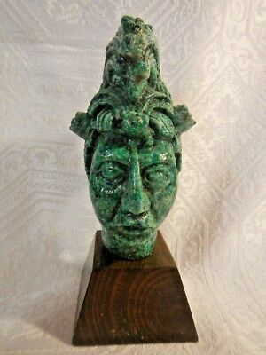 Vintage Mexico Mayan Statue Malachite crushed Statue.