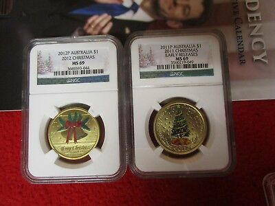 2012 & 2011 australia coins Christmas Tree and Christmas Bells Wreath Bronze NGC