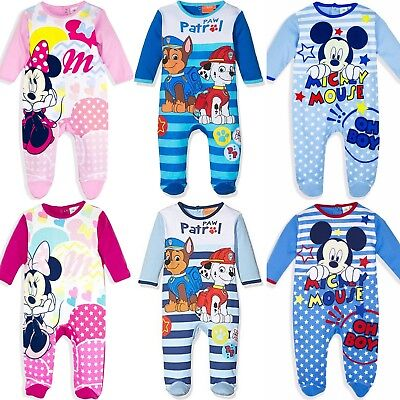 Baby Boys Girls Mickey Minnie Paw Patrol Sleepsuit Romper Babygrow Pyjamas 3-24m