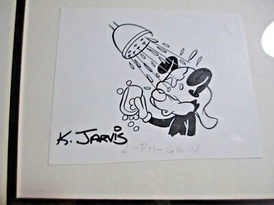 NWT COA fully framed matted ANDY PANDA ink CARTOON by animator K JARVIS RP$198+