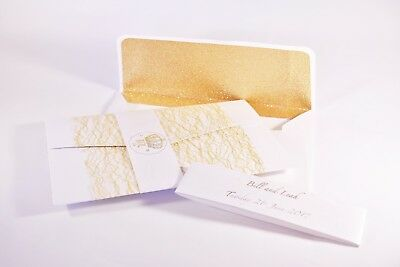 Wedding/Evening Handmade Personalised Tri-fold lace foiled lettering Invitations