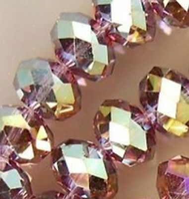 Wholesale Faceted Crystal Loose Charm Glass Beads purple Red AB 6*8mm 70pc