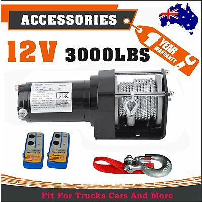 Heavy Duty 12V 3000LBS/1361kg Wireless 2 Remotes Electric Winch Steel Cable T BG
