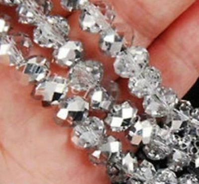 Wholesale Faceted Crystal Loose Charm Glass Beads silver white 4*6mm 100pc