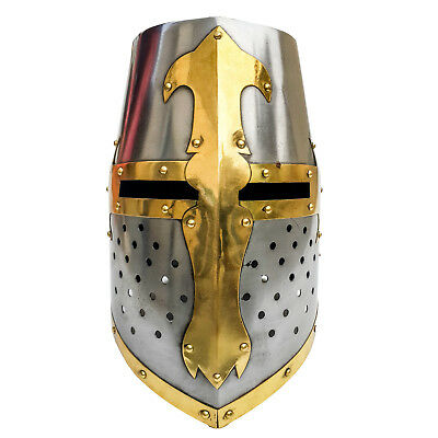 Unidecor Medievial Barrel Style Crusader Knight Steel Armor Helmet Full Size