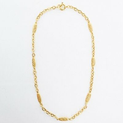 CHANEL Vintage 95P gold baroque CC charm looped chain lobster clasp necklace
