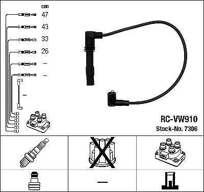 Ignition Ht Lead Set Ngk Rc-Vw910             7306