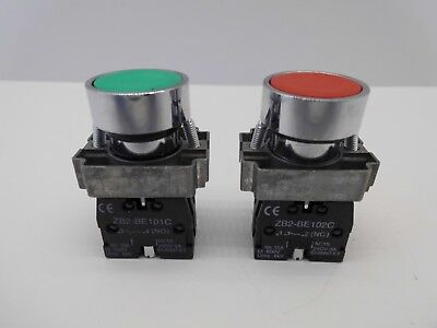 Xb2 Green Red 22Mm Panel Mounting Pushbutton N/O N/C Contact Start Stop