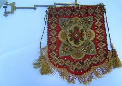 Antique Victorian Needlework Banner Face Screen & Brass Mantle Hanging Clamp