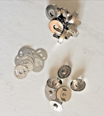 Magnetic 14 mm Handbag Fasteners, Clasps, Bag Making,  Silver Colour + FREE P&P