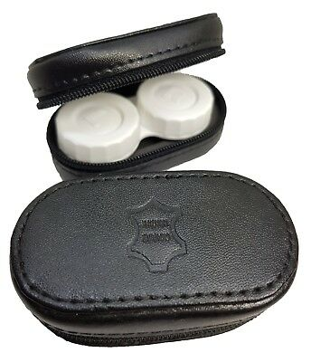 Leather Mirror Case Contact Lens Soaking Storage Case UK MADE - Black