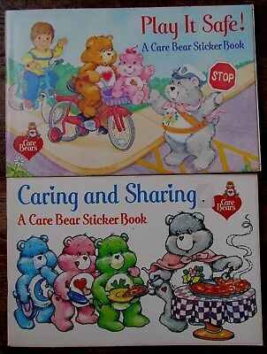 2 Vtg 1984 CARE BEAR Coloring/Sticker Books - Pizza Hut Exclusives