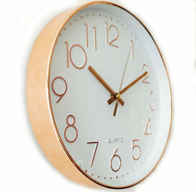 Rose Gold Shiny Wall Clock Kitchen Clock 30cm Contemporary Styling Copper Colour