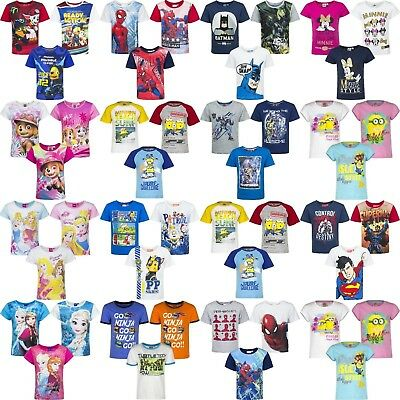 Boys Girls Kids Children Character T-shirt Top Tee age 3-8 years 100% Cotton