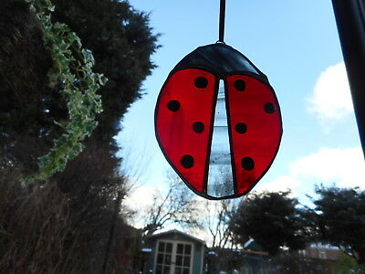 Stained Glass Ladybird Suncatcher or Wall Mount.