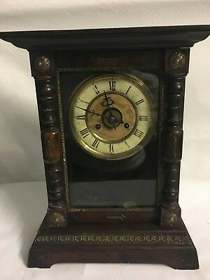 Beautiful Wooden Cased Mantle Clock with Brass Detailing