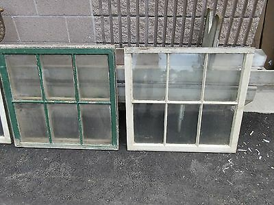 "PAIR c1890 ANTIQUE six pane windows SALVAGed from victorian home 31 x 29"" ~ 9x13"