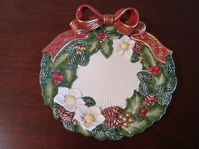 "Fitz and Floyd Christmas Rose Canape Plate 1995 9"" Diam Used in Box Perfect Cond"