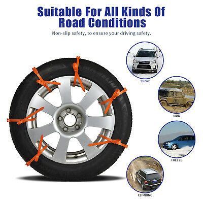 10pcs Car Anti-skid Snow Tyre Tire Chains Belt Beef Tendon Vehicles Wheel Chain