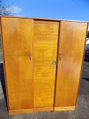walnut,vintage,3 door,1950's,wardrobe,shelves,hanging rail,break down,flat pack