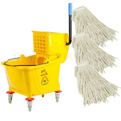 36 Quart Yellow Mop +THREE 32 Oz Cotton Head Bucket Wringer Combo KIT Commercial