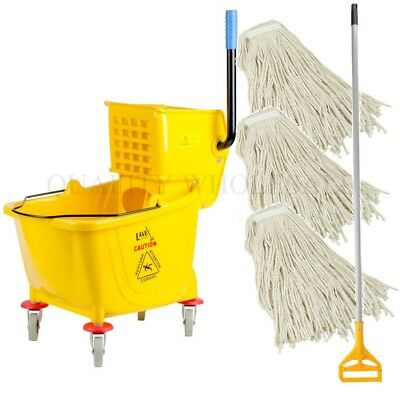36 Quart Yellow Mop Bucket THREE 32 Oz Head Handle Wringer Combo KIT Commercial
