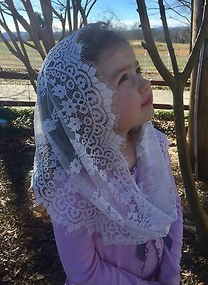 White Childs veils and mantilla Catholic church chapel sewn in clip Infinity