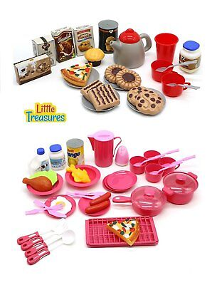 65 Pcs Kids Pretend Play Toddler Cooking Mini Toy Dishes Food Playset For Girls