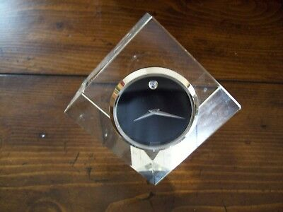Movado Clock Glass Paperweight China Case Japan Movement