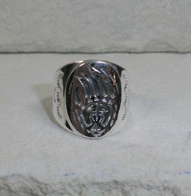 Sterling Silver Old Pawn Navajo Men's Bear Claw Ring Size 10 Signed