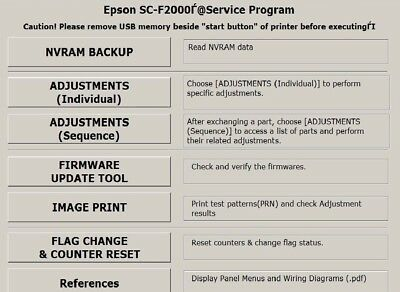 SERVICE PROGRAM FOR Epson SureColor Series SC-F9200 (Free
