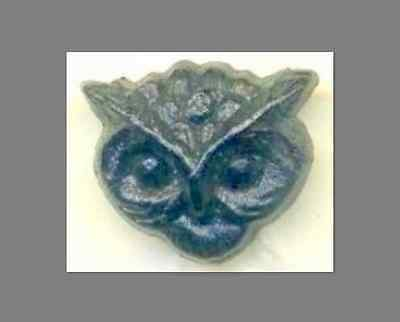 Antique Black Glass Button…Rare Realistic…Tiny Owl Head