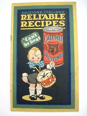 """Vintage """"Calumet"""" Recipes Booklet Written in English and Italian w/ Boy & Drum *"""