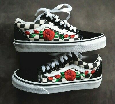 2a231321bd2 Made To Order Custom Vans Checkered Old Skool Rose Embroidered Iron On Shoes
